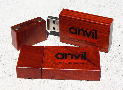 WDR7 Style Wooden Custom Flash Drives Featuring Anvil Earth Friendly Imprint