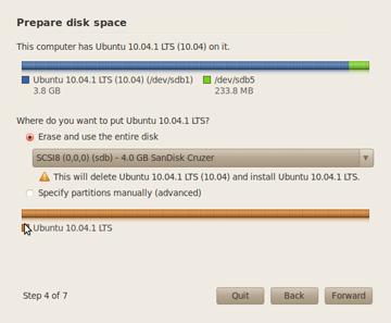 prepare disk space