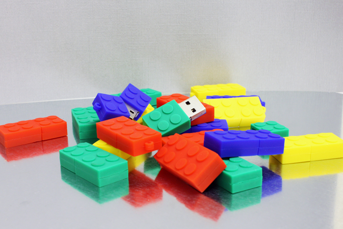 Lego shaped USB drives multi colored.